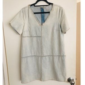 1. State Light Denim Wash Frayed Dress, Large